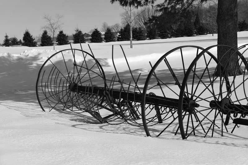 Farm;Equipment;reaper;snow;Black and White;Indiana