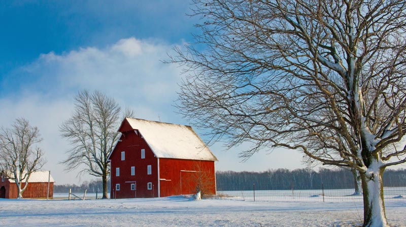 Barn;farm;snow;Indaina;In;Midwest;rural;Red;White;blue;Winter
