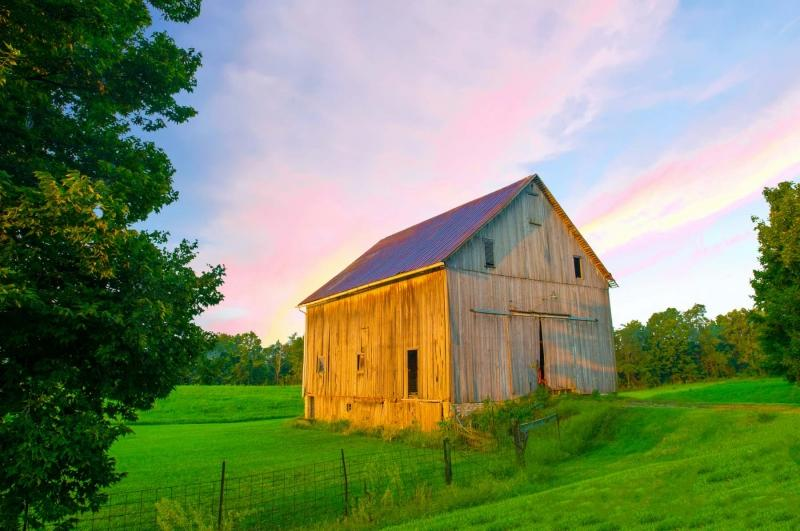 Barn;family farm;farming;rural;weathered wood;gray;green;blue;Howard County;Midwest;Indiana