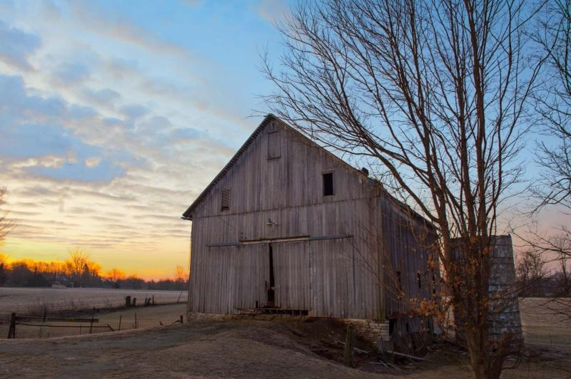 Barn;barns;farm;Indiana;Midwest;Howard County;rural;weathered wood;farming;old;antique;gray;gold;blue;sunrise