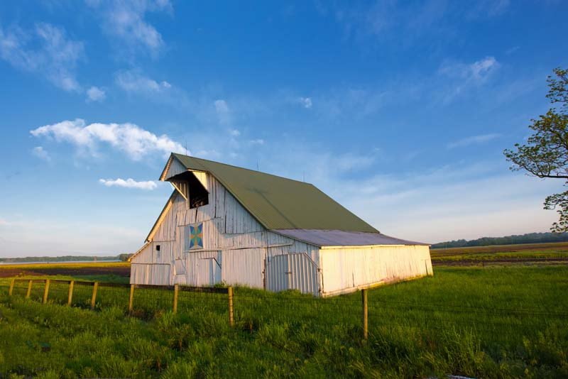Barn;barns;farm;green;Indiana;Midwest;Gibson County;rural;weathered wood;farming;old;antique;White