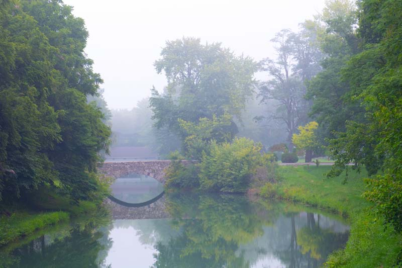 Bridge;Stone bridge;Carrol County;Fog;Green;reflection;Indiana;Midwest:Erie Cannel;Delphi