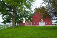 Farm;Barn;Red;Green;Indiana;Midwest;Rural