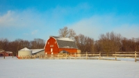Barn;Red;White;snow;Winter;blue;Indaina;In;Midwest;rural