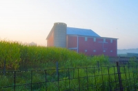 Fog;farm;farming;barn;barns;Indiana;red;green;Midwest;Miiami-County;rural;corn