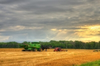 Farm;Farming;Farm-equipment;tractor;green;red;gold;Indiana;Midwest;rural;Tipton-County;wheat-straw