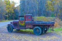 Truck;old-truck;antique;Colorado;Aspen;west;auto;orange;rust;green