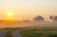 Sunrise;farm;barn;orange;pink;fog;Richmond;Kentucky;rural;Midwest