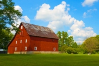 Barn;farm;barns;red;green;Grant-County;Indiana;Midwest;rural