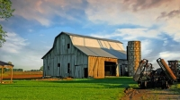 Barn;Farm;Indiana;In;farm-equipment;rural;Midwest;weathered-wood;gray;green