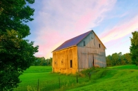 Barn;family-farm;farming;rural;weathered-wood;gray;green;blue;Howard-County;Midwest;Indiana