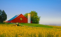 Barn;barns;farm;red;yellow;John-Deere;Indiana;Midwest;Tipton-County;rural