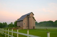 Barn;farm;Miami;County;Indiana;Midwest;rural;weathered-wood;gray;pink;fog;morning;femce