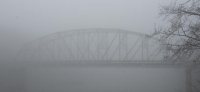 bridge;fog;River;Indiana;Iron-Bridge;Midwest;Gray