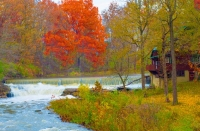 Waterfall;Mill;Cass-County;red;orange;fall-colors;Indiana;Midwest-moving-water;Grist-Mill;Pipe-Creek