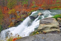 Waterfall;fall-colors;orange;red;New-York;New-England;East;Nature;river;stream;Moving-water
