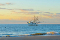 Boat;Shrimp-boat;Natical;costal;Hilton-Head;South-Carolina;southeast;pink;blue;sunrise;senic