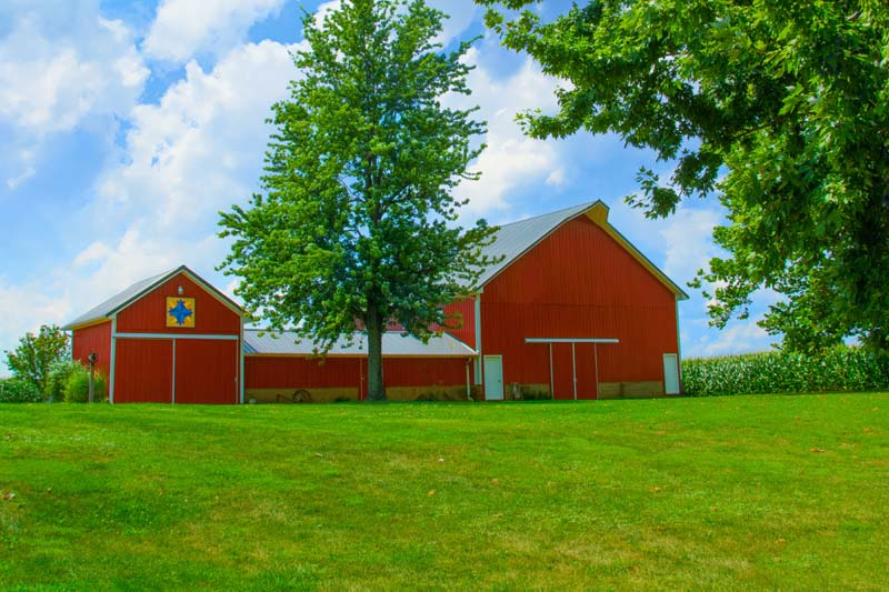 Barn;Farm;Red;Green;Indiana;Howard County;Midwest;rural;Family Farm;quilt square