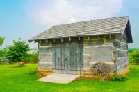 Log-cabin;weathered-wood;gray;green;Howard-County;Indiana;Midwest;antique;old