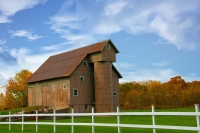 Barn;farm;family-farm;Miami-County;weathered-wood;fall-colors;treesn;orange;green;gray;Midwest