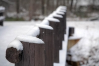 white;brown;horizontal;fence;trees;winter;snow;Alley-Mill;Alley-Spring;Eminence-Missouri