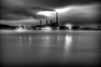 dark;horizontal;lake;local;sky;clouds;fog;night;city;Springfield-Lake;power-plant;black-and-white;bw