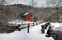 red;white;gray;horizontal;snow;winter;building;trees;mill;bridge;Alley-Milll;Alley-Spring;Eminence;M