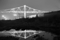 bridge;commercial-street;springfield;mo;missouri;train;morning;horizontal;bw;black-and-white