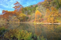 water;spring;lake-springfield;river;creek-reflection;trees;missouri;mo;fall;autumn;colors;horizontal