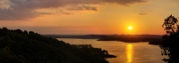 Panorama of a sunset at Table Rock Lake - Lampe, MO.