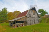 Barn;Barns;Farm;Farms;Tractor;Owen-County;Rural;Midwest;Indiana;weathered-wood;gray;green