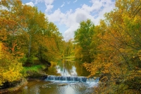 Waterfall;Pipe-Creek;Cass-County-Indiana;Midwest;nature;fall-colors;orange;green;creek;stream