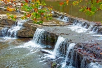 Waterfall;river;creek;Fall-Colors;Fall-leaf-color;red;orange;Indiana;Midwest;rural;public-park;beaut