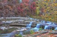 Waterfall;river;creek;Fall-Colors;Fall-leaf-color;red;orange;Indiana;Midwest-usa;rural;public-park;b