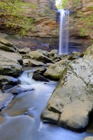mountains;ozarks;petit-jean;state-park;ar;arkansas;forest;trees;vertical;green;waterfall;water